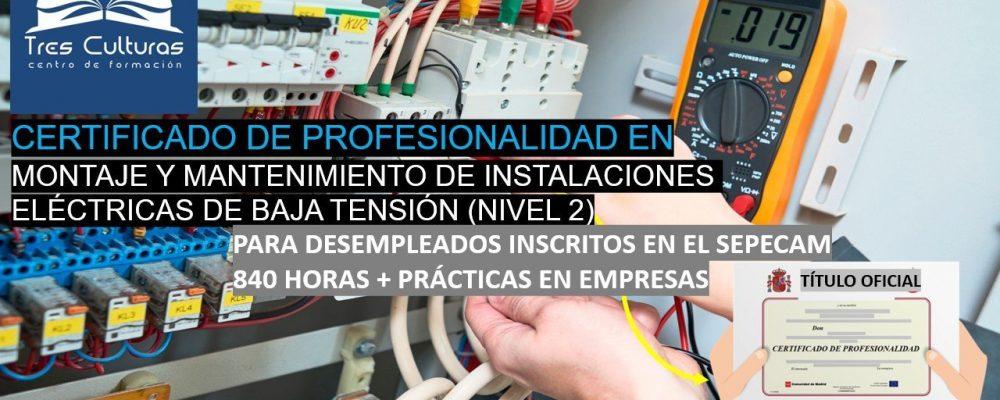 Curso de montaje y mantenimiento de instalaciones eléctricas – Gratis – Toledo – Desempleados